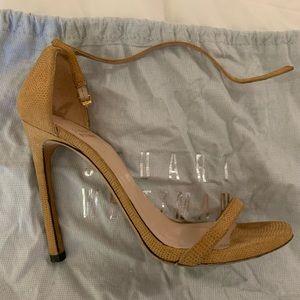 Stuart Weitzman Embossed Leather Sandals